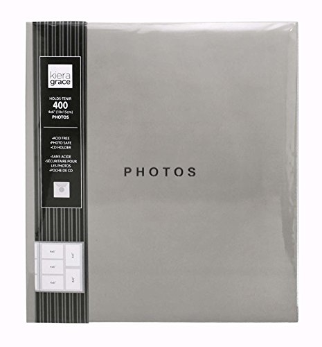 This Kiera Grace 400 pocket photo album holds 4x6 inch photos and has a dust jacket and CD pocket. Store your favorite photos in this beautiful photo album worry-free with a dust jacket to keep your photos safe and a CD pocket to keep your digital co...