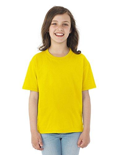 Loom Youth Tshirt - Fruit of the Loom Heavyweight Youth Short Sleeve T-Shirt - YELLOW - small