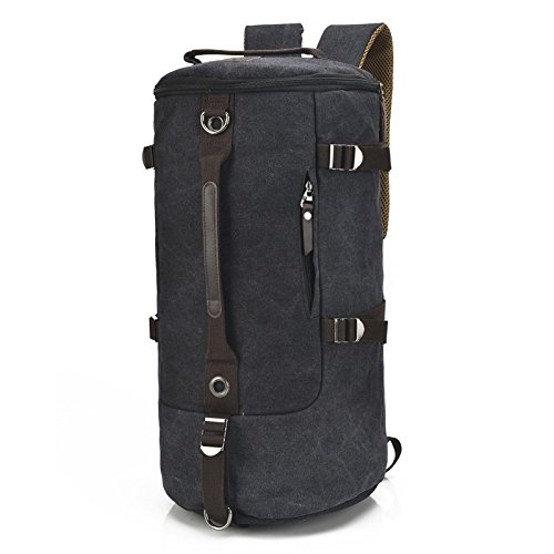 mefly nuevo hombre grande bolsa cilindro Moda Retro hembra a correa de lienzo bolso de Diagonal, Large dark blue Large black