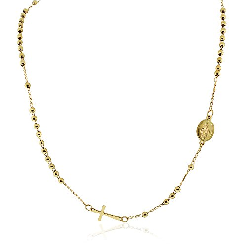 Gold Tone Beaded Chain - EDFORCE Stainless Steel Yellow Gold-Tone-Tone Religious Cross Jesus Medallion Beaded Necklace, 20