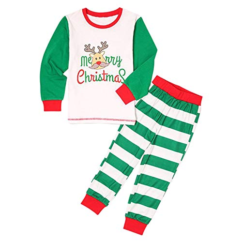 Blaward Family Matching Christmas Pajamas Set Deer Tops and Green Striped Pants Sleepwear for Family