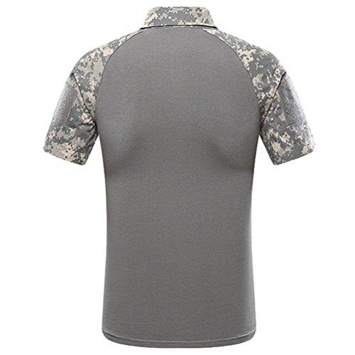 ZhiYuanAN Hombres Tácticas De Entrenamiento Camisa Al Aire Libre Selva ACU AU FG Camuflaje Polo Shirt De Manga Corta Camuflaje Estilo 2
