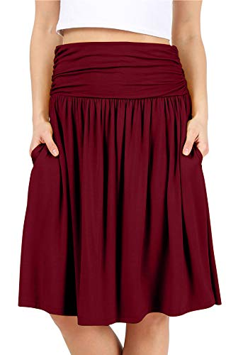 Burgundy Skirts for Women Burgundy a Line Skirt Knee Length Skirts Reg and Plus Size Burgundy Skirt Reg and Plus Size Skirts for Women (Size 2X (US 14-16), Burgundy)