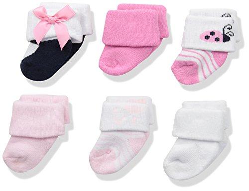 Luvable Friends - Calcetines de rizo para bebé recién nacido, 6 unidades, Ladybug, 0-3 meses
