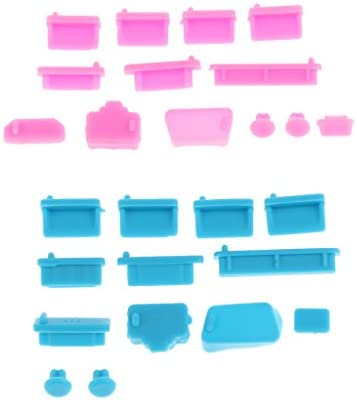 ラップトップノートブック適用 2セット 26個 シリコーン ホコリプルーフプラグストッパー ブルー ピンク 便利性