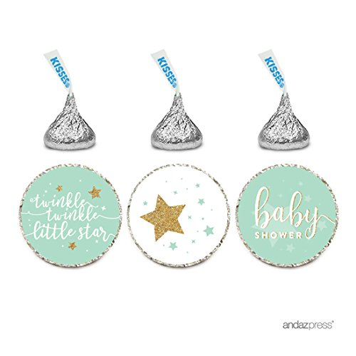 - Andaz Press Chocolate Drop Labels Trio, Baby Shower, Twinkle Twinkle Little Star, Mint Green, 216-Pack, Fits Hershey's Kisses Party Favors, Decor, Decorations