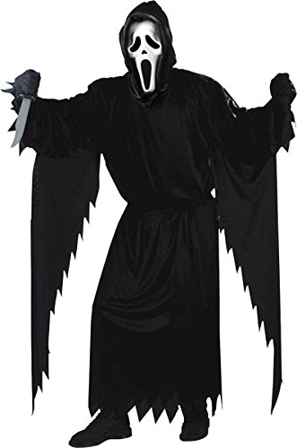 FunWorld  Adult Plus Scream Costume, Black, One Size (All Ghostface Costumes)