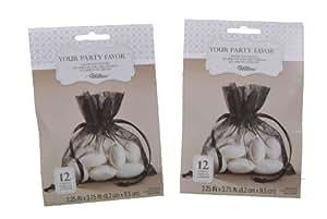 Lot of 24 Wilton Black Organza Sachets Wedding Party Favor Candy Bags