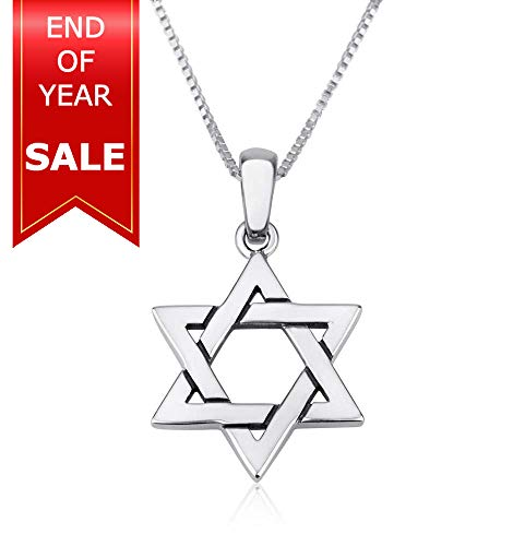 Marina Jewellery Genuine 925 Sterling Silver Chain Necklace with Star of David Pendant Charm, 18 Inch Box Chain