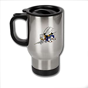 Stainless Steel Coffee Mug with U.S. Naval Construction Force (CBs SeaBees) logo from ExpressItBest