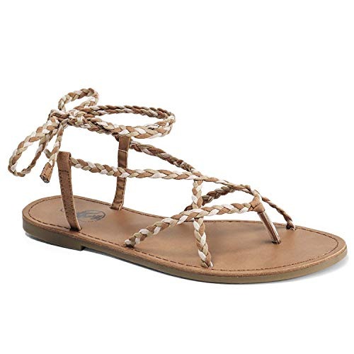 Trary Braid Lace up Sandal for Women Brown-Pink-Green 11