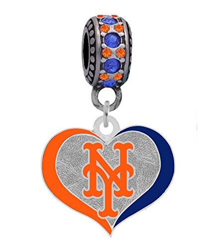 - Final Touch Gifts New York Mets Swirl Heart Charm with Connector Bead Fits European Style Large Hole Bead Bracelets