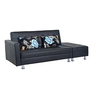 amazoncom homcom pu leather folding sofa couch sleeper bed w storage ottoman black home u0026 kitchen