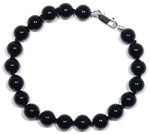 """Sterling Silver 8mm Black Onyx Bracelet, 7.5"""" from Amazon Curated Collection"""
