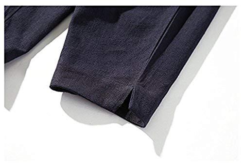 Casuales Con De Basicas Moda Otoño Primavera Los Color Pantalones Jogging Chándal Negro Arranque Sólido Hombres Lino TSxqHwPP8