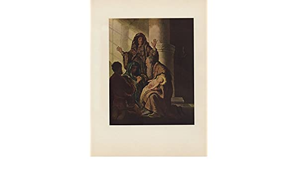 "1956 VINTAGE REMBRANDT /""THE PRESENTATION IN THE TEMPLE/"" BIBLE ART LITHOGRAPH"