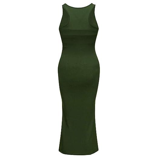 a62fef9eb8884 EDTO Women Pregnant Slim Fit Dress, Maternity Breastfeeding Summer  Sleeveless Set Army Green
