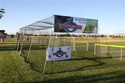 40' Wheelhouse Batting Cage w/ L-screen and #21 knotted nylon netting by Wheelhouse