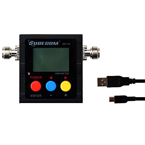 Surecom Gam3Gear SW-102S SO239 Connector Digital VHF UHF 125-525Mhz Power & SWR Meter with Ground Plate