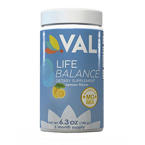 Val Magnesium Supplement (Life Balance) for Migraines, Headaches, Cramps and Constipation Relief - Contains Citrate, Glycinate and Chelate (400mg/serving) Non-GMO, Gluten-Free, Vegan (Lemon) -