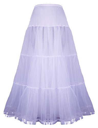Shimaly Women's Floor Length Wedding Petticoat Long Underskirt for Formal Dress (S-L, White)
