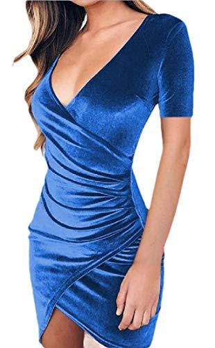 RRINSINS Women's Fashion Summer Fashion Short Sleeve Crushed Velvet Mini Short Dresses