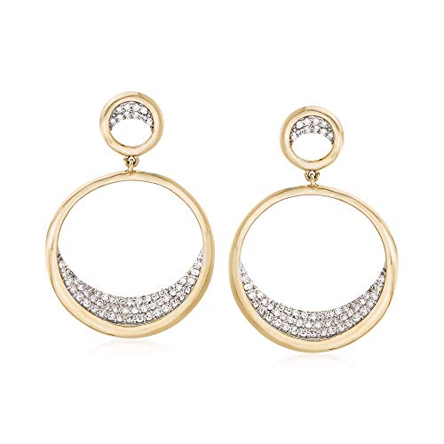 Ross-Simons 0.37 ct. t.w. Pave Diamond Double Circle Drop Earrings in 14kt Yellow Gold
