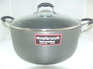 Larga vida útil Master Cook batería de cocina de gran espesor anodizado cacerola con tapadera de vidrio 26 cm/6.4L