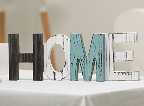 MyGift Rustic Teal, Brown and White Wood Home Decorative Mantel Sign, Standing Cutout Word Decor - A freestanding sign made of cut-out wooden letters that spell out the word HOME. Can be displayed on any shelf, tabletop, counter top, or desktop. Makes a beautiful centerpiece or decorative accent for your home. - living-room-decor, living-room, home-decor - 419BbHOn1rL -