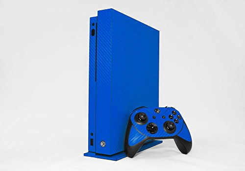 Microsoft Xbox One X Skin (XB1X) - NEW - 3D CARBON FIBER CANDY BLUE - Air Release vinyl decal faceplate mod kit by System Skins