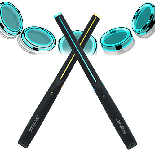 AEROBAND Air Drum Sticks Electronic Drum Set with Light, Bluetooth Wireless Connection Pocketdrum, 3 Modes Portable Drumsticks Indoor/Outdoor Travel Using- 1 Pair