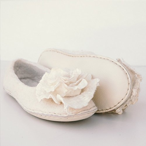 BureBure Wedding Bride Slippers with Felted Rose Brooches Handmade in Europe