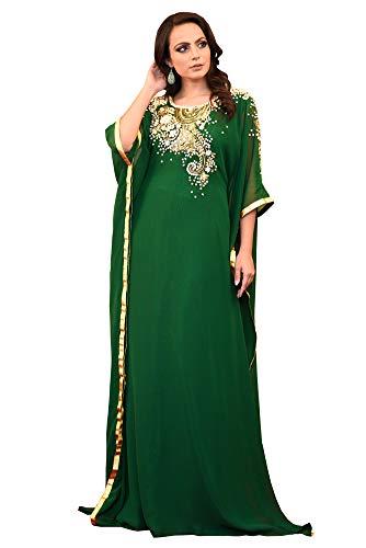 Kolkozy Fashion Women's Georgette Hand Beaded Kaftan Dark Green Size M