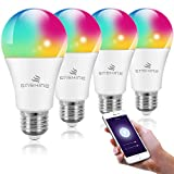 WiFi Smart Light Bulbs, Compatible with Amazon Alexa, Echo and Google Assistant, Enshine A19 60W Equivalent E26 RGB Color Changing LED Bulb, Tunable White 2700K-6500K, No Hub Required (4 Pack)
