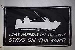 Barco adhesivo lo que sucede en el barco broma sótano pesca bandera 3x 5