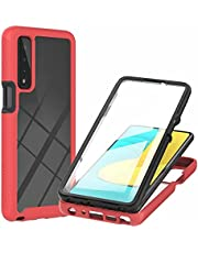 CRABOT Compatible with LG Stylo7 5G Case Dust-Proof Shockproof Full Protection Cases Built-in Screen Protector Body 360℃ Fully Sealed Protective Front and Back Cover-Red