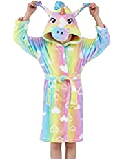 Ksnnrsng Zachte badjas met eenhoorn en capuchon voor kinderen, nachtkleding met capuchon, badjas met capuchon - geschenken met eenhoorn voor meisjes