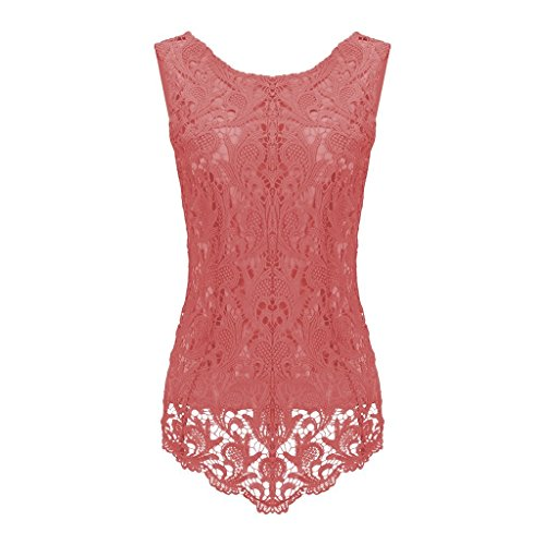 Sumtory Women's Lace Blouse Sleeveless Embroidery Tops Vest Shirt Blouse – Small, Watermelon Red