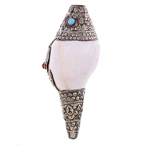 (Jili Online Tibetan Silver Natural Conch Shell Pendant Sea Snail Good Lucky Amulet Decor)