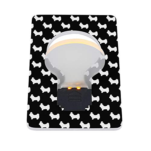 Secoid Shih Tzu Dog Silhouettes Balck and White Portable Pocket Wallet Credit Card Size LED Night Light Lamp Set of 2