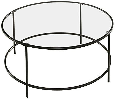 Amazoncom Sauder Soft Modern Round Coffee Table BlackClear