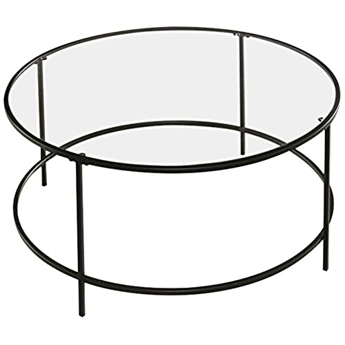 Sauder Soft Modern Round Coffee Table, Black/Clear Glass