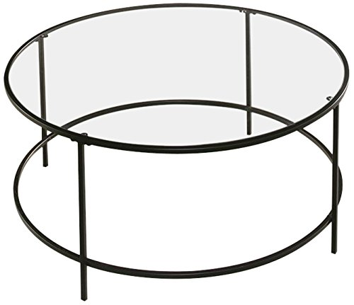 Sauder Soft Modern Round Coffee Table, Black/Clear Glass (Tables Modern Coffee Glass)