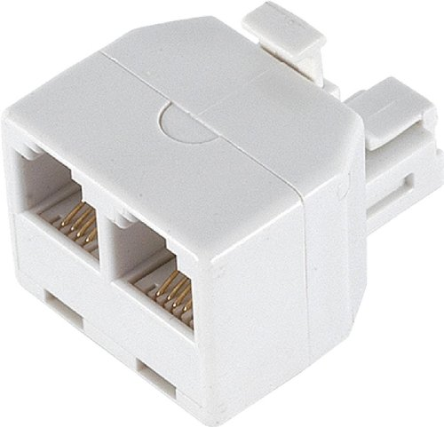 (Ge 26191 Duplex Wall Jack Adapter (White, 4-Conductor) )
