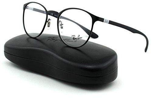 Ray-Ban RX6355 Unisex Round Metal Eyeglasses (Matte Black Frame 2503, 47)