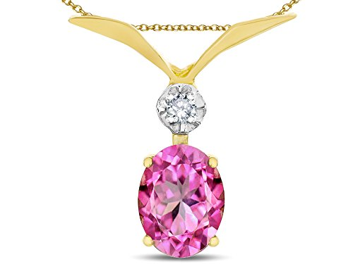 Star K Oval 8x6mm Created Pink Sapphire V Shaped Pendant Necklace 14 kt Yellow Gold ()