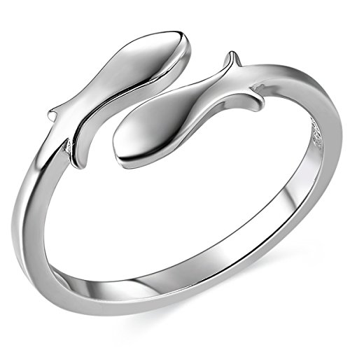 - JEWME 925 Sterling Silver Women Fish Pisces Zodiac Constellations Open Tail Rings
