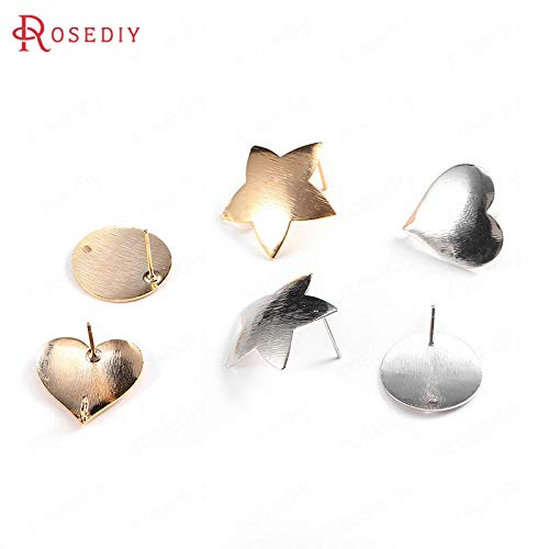 (Laliva 10PCS 24K Gold Color Plated Brass with Pattern Star Heart Round Stud Earrings DIY Jewelry Findings Earrings Accessories - (Color:, Size: 19MM Heart))