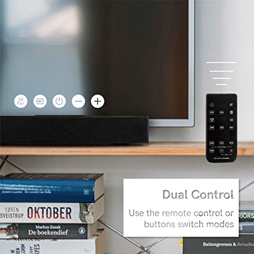 atune analog Sound Bar Wireless 5.0 Bluetooth for TV with 2.0 Channel Dolby Digital Volume Control Remote Control Wall Mountable 16 in Black