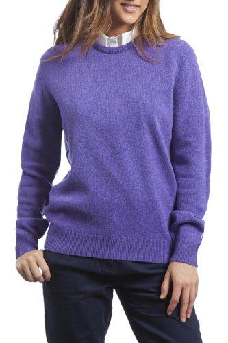 Great and British Knitwear - Jersey liso de lana con cuello redondo para mujer. Hecho en Escocia Heliotrope